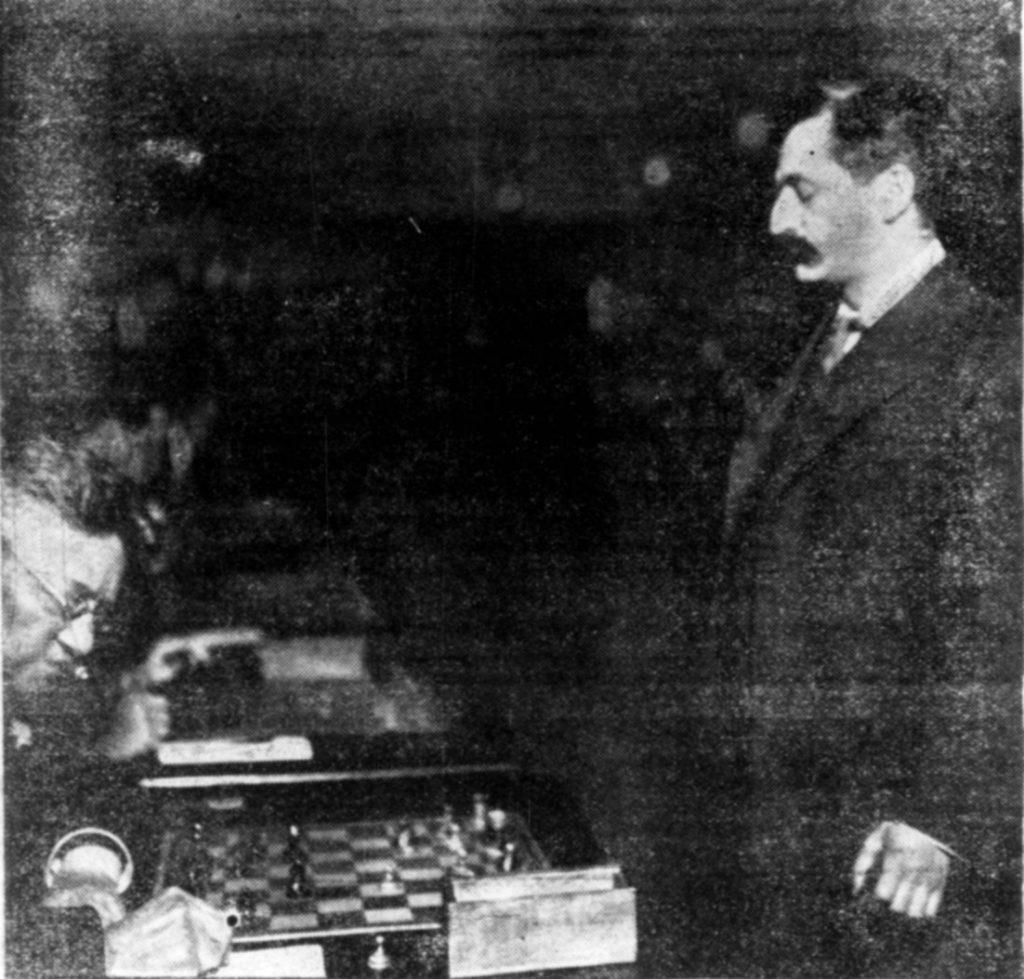 Lasker's opponent is Vilhelm Nielsen. Dagens Nyheder, July 10 1908.
